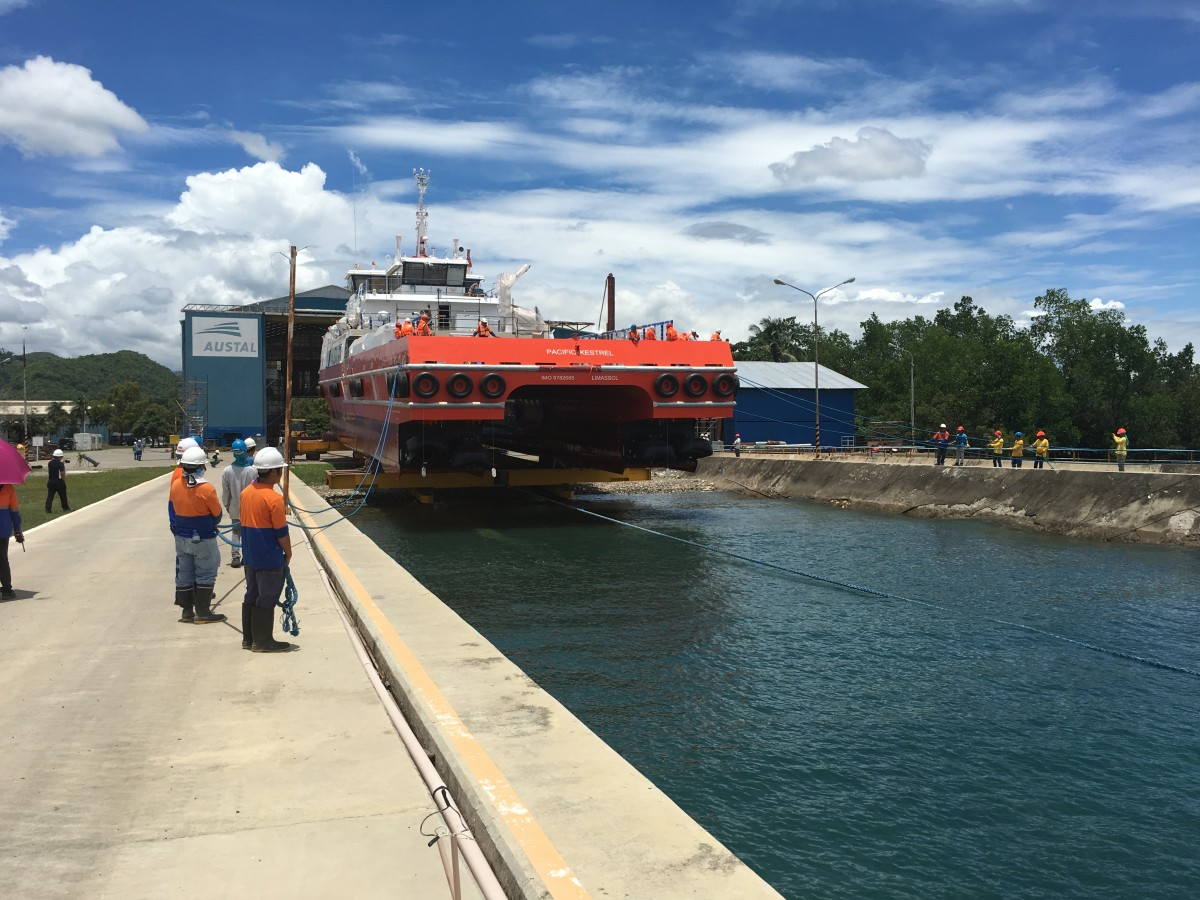 Launch of the 57m large crew transfer vessel for Swire Pacific Offshore (SPO) at Austal Philippines shipyard in Balamban, Cebu
