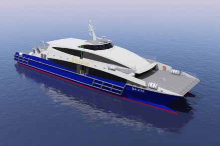 Render of the 50m high-speed passenger ferry for Seaspovill of South Korea