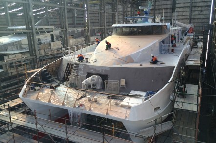 Construction of one 45m crew transfer vessel for Abu Dhabi National Oil Company at Austal Philippines in Balamban, Cebu