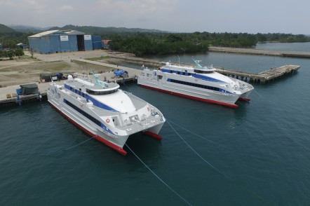 YASAT and GHAGHA-1 - two 45m crew transfer vessels for the Abu Dhabi National Oil Company alongside at Austal Philippines shipyard in Balamban, Cebu