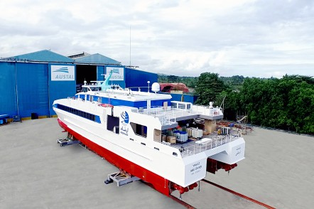 Roll-out of YASAT, one 45m crew transfer vessel for Abu Dhabi National Oil Company (ADNOC) at Austal Philippines shipyard in Balamban, Cebu